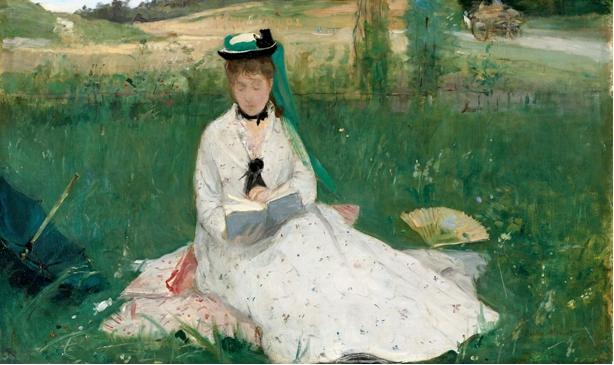 """Berthe Morisot, """"Ritratto della sorella, M.me Pontillon, seduta sull'erba"""", o """"Il parasole verde"""", 1873"""