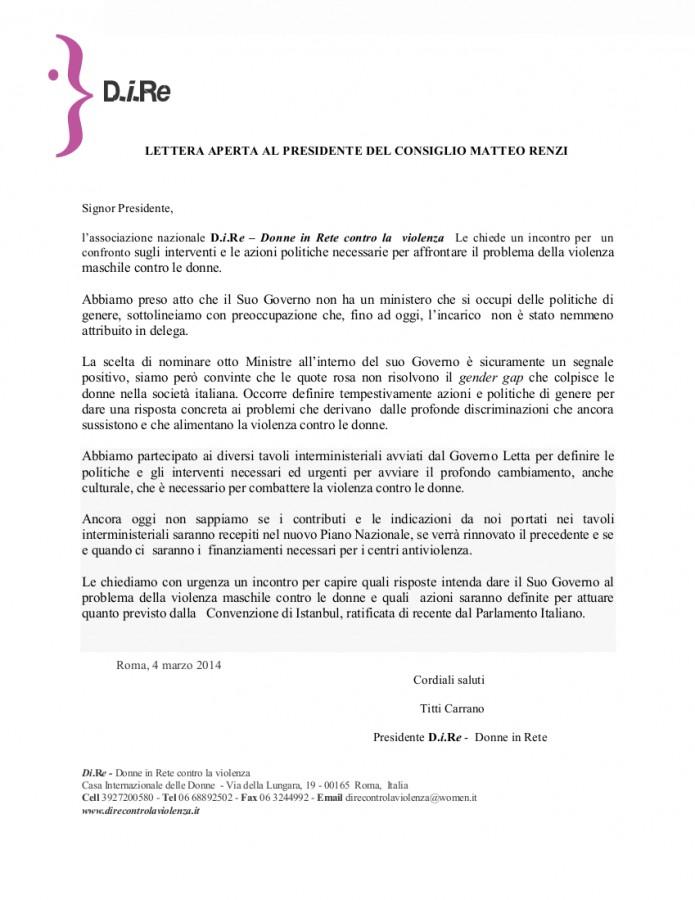 Lettera aperta al Presidente del Consiglio  Matteo Renzi